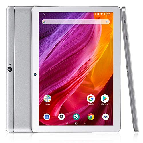 Dragon Touch K10 Tablet Android 8.1, Tablet da 10 pollici con processore quad-core da 16 GB con lo schermo IPS HD, Tablet famiglia con micro HDMI, GPS, FM, WiFi 5G, Corpo in Metallo(Argento)
