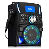 WICKED GIZMOS Portable Karaoke Boombox Machine with Screen, Amplifying 5W Speaker, Microphone and LED Lighting Effects with CD Player, Bluetooth and AUX Inputs and RCA Video Out