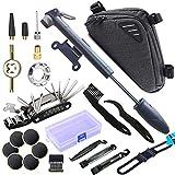 SPROUTER Kit de Herramientas de Reparación de Bicicletas con Bolsa de Cuadro de Bici Triangular, Bomba de Bici, Herramienta de Reparación de Múltiples Herramientas de Bici 16 en 1, Ilave de Radios