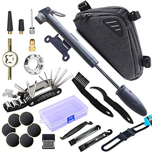 SPROUTER Fahrrad Reparatur Werkzeug Set mit Fahrradrahmentasche, Fahrradpumpe mit Schrader und Presta, 16 in 1 Fahrrad Multitool und Reifenreparaturset mit Selbstklebenden Patches, Speichenschlüssel