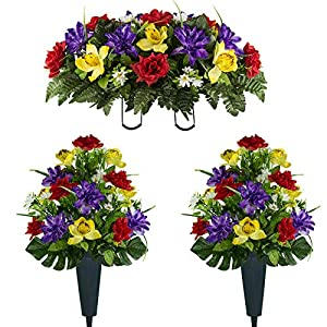 Sympathy Silks Artificial Cemetery Flowers – Realistic Vibrant Roses, Outdoor Grave Decorations – Non-Bleed Colors, and Easy Fit – 2 Red Yellow Purple Orchid Bouquets with 2 Vases and 1 Saddle