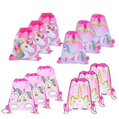 Gshy Mochila para niños Mochilas de cuerdas con diseño de unicornio Bolsa de gimnasio de poliéster para viajes escuela deportes niña niño Regalo de fiesta de cumpleaños 2 piezas Estilo aleatorio