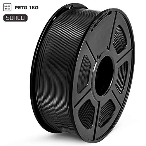 SUNLU Filament 1.75mm PETG 3D Drucker Filament PETG 1kg Spool (2.2lbs), Toleranz beim Durchmesser liegt bei +/- 0,02mm PETG Schwarz