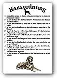 Blechschild/Warnschild/Türschild - Aluminium - 15x20cm - Lustige Hausordnung für Mensch und Hund: Deutsche Dogge/Dänische Dogge