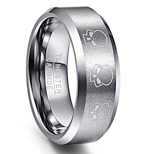 NUNCAD Ring Wolfram Damen/Herren mit Gravur Totenkopf Silber 8mm in Punk Style, Ehering, Ring für Alltag, Fashion und Lifestyle, Größe 57 (17)