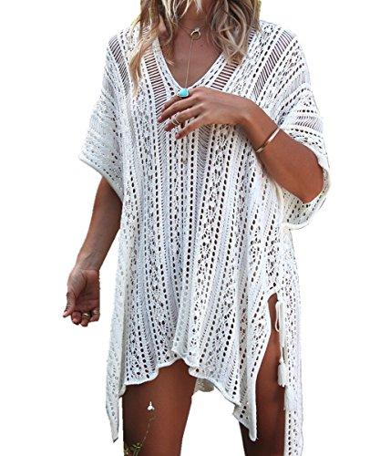 AiJump Pareo de Punto Túnica Vestido de Playa Bikini Cover Up para Mujer