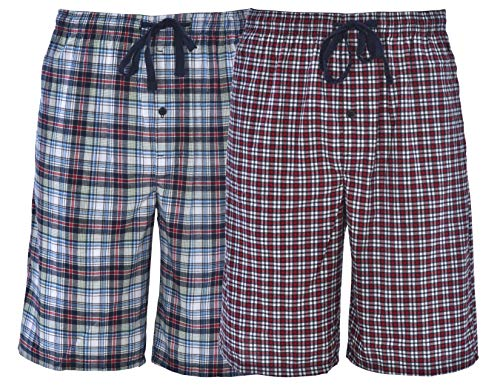 Hanes Men's 2-Pack Woven Pajama Sleep Shorts, Red Navy Plaid, XX-Large