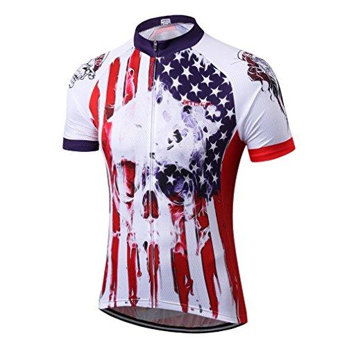BIYINGEE - Maillot de Ciclismo para Hombre (Manga Corta), Tag M = Chest 40.9', Calavera EE.UU.