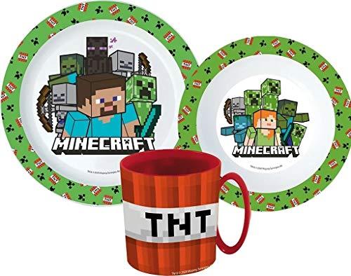 Minecraft Kinder-Geschirr Set mit Teller, Müslischale und Tasse