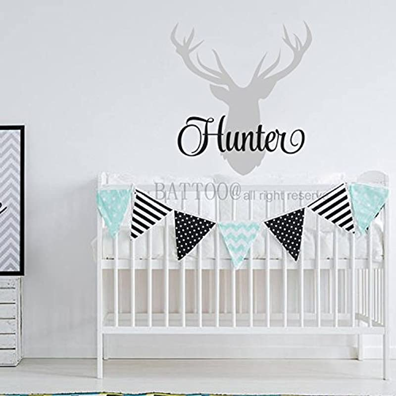 BATTOO Personalized Deer Antlers Name Wall Decal Hunting Themed Woodland Nursery Decor Deer Name Decal 30 H Nursery Baby Boys Girls Custom Decor PLUS Free Hello Door Decal