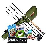PROBEROS Pesca con Mosca Combos de caña y Carrete Pesca con Mosca Kit Completo Caña de Mosca de 4 Piezas Arrancador Completo Paquete Equipar Caña Carrete de la Mosca con Estuche de Viaje