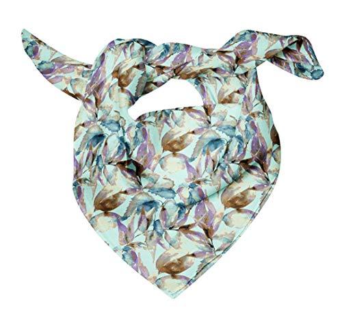 Bimba Azul acuarela hojas pañuelo de cabeza de seda con estampado de pañuelos de seda pura estampado 40 x 40 Pulgadas
