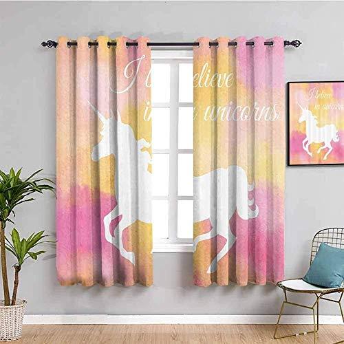 Nileco Cortinas Opacas Termicas - Color unicornio caballo animal - 264x160 cm - Cortinas del Dormitorio de la Habitación de los Niños - 3D Impresión Digital con Ojales Aislamiento Térmico