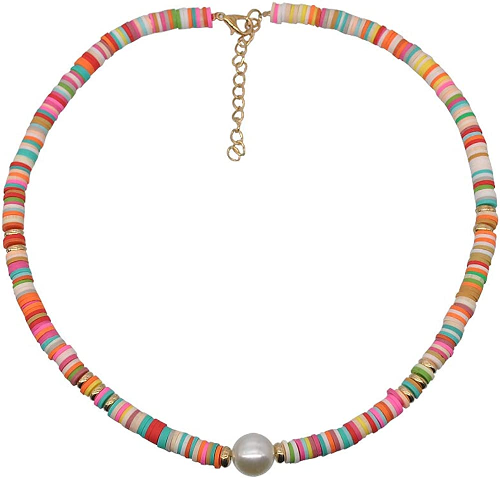 The Woo's Lightweight Surfer Choker Colorful Polymer Clay Beaded Necklace Handmade Soft Pottery Summer Beach Collar African Tribal Boho Vinyl Disc Beads Jewelry for Women Girl