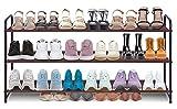 AOODA 3-Tier Long Shoe Rack for Closet Stackable Wide Shoe Shelf Organizer and Storage for Floor, Entryway (Bronze)