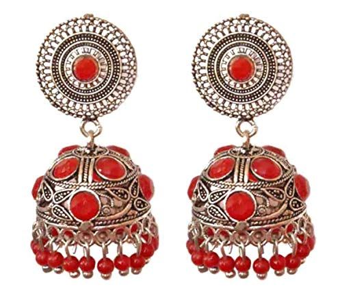 Pahal Traditional Bollywood Oxidized Red Pearl Kundan Big Silver Jhumka Earrings Indian Bollywood Party Wear Jewelry for Women
