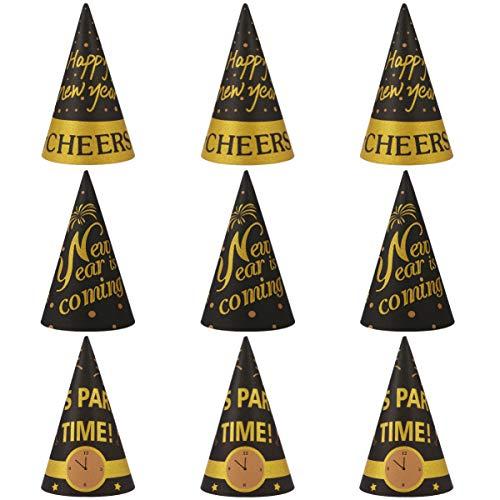 KESYOO 18Pcs Chapéus de Feliz Ano Novo para Festas Chapéus Decorativos de Papel Chapéus de Cone de Decoração Chapéus de Véspera de Ano Novo para 2021 Artigos de Festas de Aniversário de