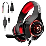PS4 Headset Gaming Headset for PS4, Xbox One Controller, Nintendo Switch, PC, Laptop, Mac, Over Ear Headphones PS4 Headset with Noise Cancelling Mic, LED Light, Stereo Bass Surround Sound, Red