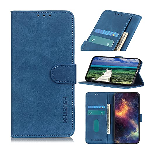 ROVLAK Funda para Samsung Galaxy A22 5G Case Flip Cartera con Ranura para Tarjetas Estuche de Cuero PU+Interior de Silicona TPU Case con Soporte Carassa para Samsung Galaxy A22 5G,Azul