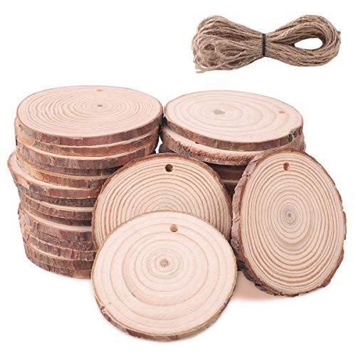 SanGlory 30 Stücke Holzscheiben 6-7cm Holz Log Scheiben und 10m Jute Seil Holz-Scheiben DIY Handwerk Deko-Holz...