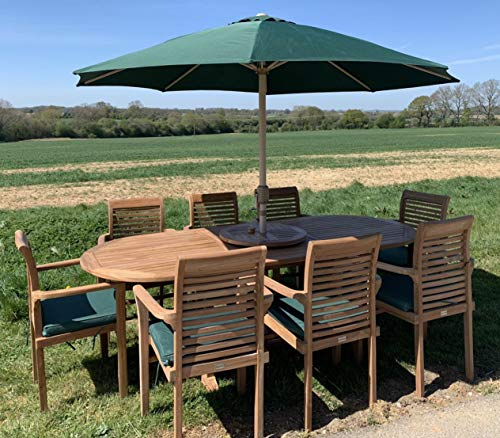 Teak Garden Patio 8 Seater Single Extending Set with Stacking Chairs Free Cushions and Parasol