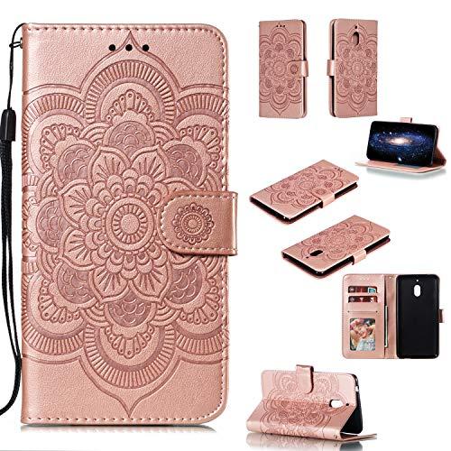 COZY HUT Cover Nokia 2.1/Nokia 2 2018, [Kickstand] [Slot per Schede] [Chiusura Magnetica] Flip Caso in PU Pelle Premium Portafoglio Custodia per Nokia 2.1/Nokia 2 2018 - Mandala in Oro Rosa