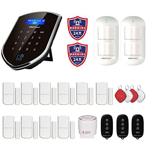 Wolf-Guard WM2GR-P 433 MHz WiFi & GSM Sistema de alarma de seguridad con detector de movimiento para mascotas, alarma de batería baja, sensor de ventana de puerta,RFID, mandos a distancia, sirena