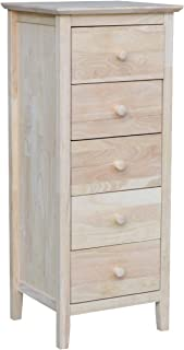 Shelly Shelves Wood Storage Chest - 5 Drawer Lingerie Storage Chest - Unfinished