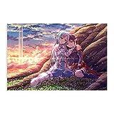 Lienzo de anime de Asuna y Konno Yuuki con espada en línea para decoración de la sala de estar, dormitorio, 60 x 90 cm
