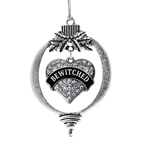 Inspired Silver - Bewitched Charm Ornament - Silver Pave Heart Charm Holiday Ornaments with Cubic Zirconia Jewelry