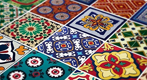 Wandkunst Mexikanische Fliesenaufkleber Talavera Spezial Stickers (Packung mit 48) - 10 x 10 cm