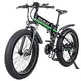 GUNAI Bicicleta eléctrica de montaña, 26' 1000W Batería 48V E-Bike Sistema de Transmisión de 21 Velocidades con Linterna con Batería de Litio Desmontable(Verde)
