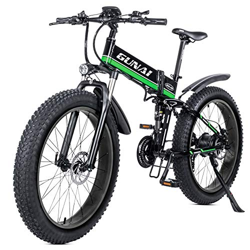 GUNAI Electric Bike 26 Inches Folding Fat Tire Snow Bike 21 Speed Mountain E-bike with Rear Seat(Green)