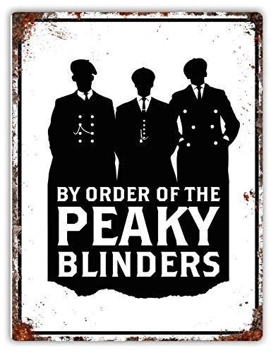 Placa de pared vintage de PEAKY BLINDERS para televisores de 20 x 15 cm – Cartel de metal de regalo para el hogar, el dormitorio, la oficina, la cocina – por orden de envejecido