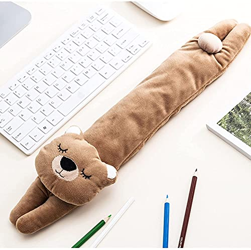 Keyboard Wrist Rest and Ergonomic Mouse Pad Wrist Support,Washable Keyboard Mouse Wrist Support Pad Bean Bag for Carpal Tunnel,Office Workers,Massage,Cute Cartoon Bear Set-Brown 18.8inch