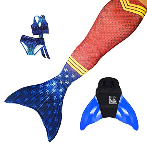 Sun Tails Set Premium Mermaid Fin Super Siren Wonder Woman Mermaid Tail Monofin Mermaid Fin for Swimming, With monofin blue costume and bikini, L