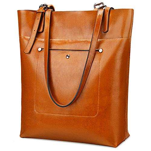 YALUXE Genuine Leather Womens Tote Bag Large Capacity Vintage Style Soft Leather Work Shoulder Bag