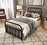 Metal Bed Frame Twin Size with Vintage Headboard and Footboard Platform Base Wrought Iron Double Bed Frame (Twin, Black)