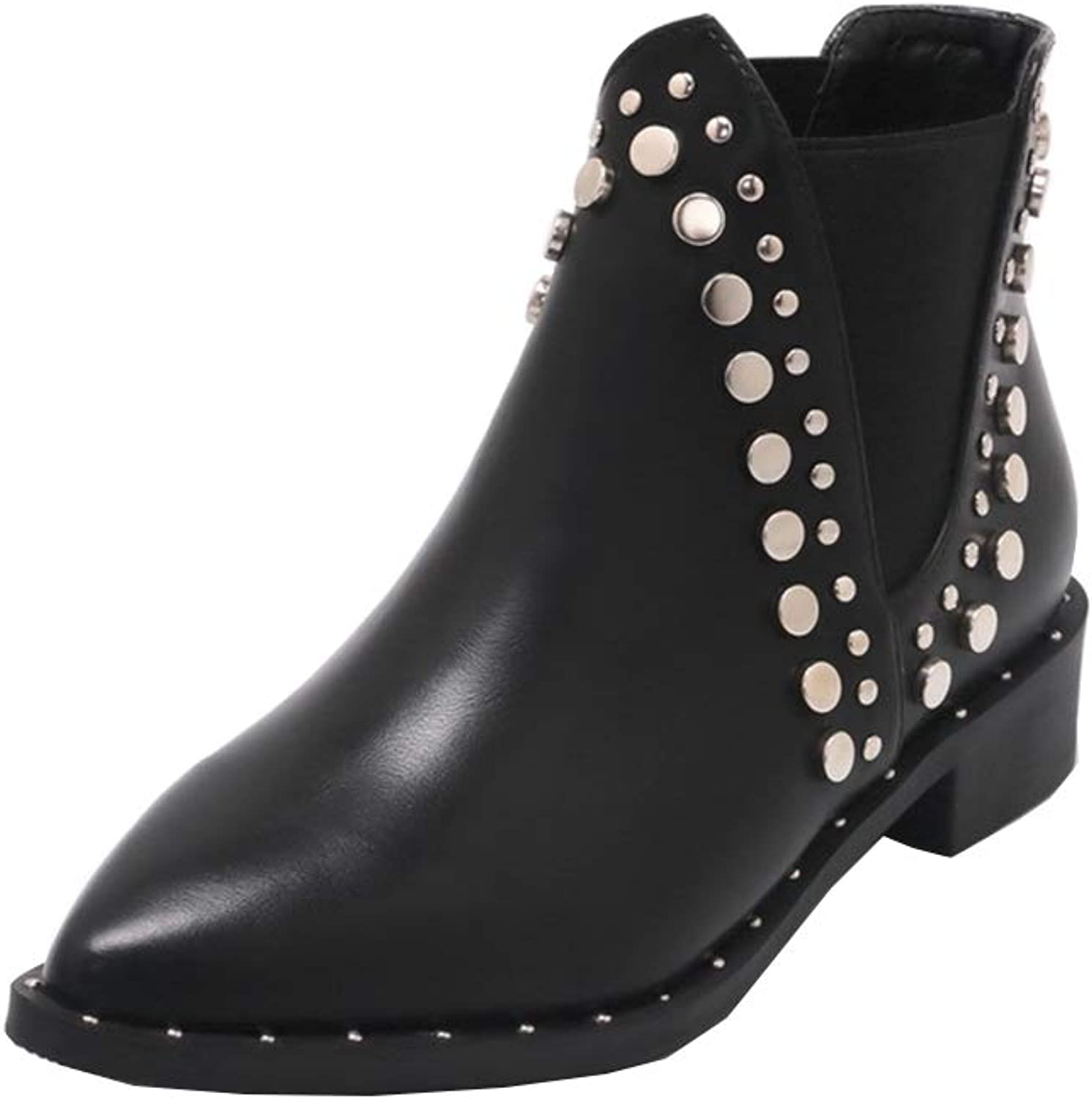 Topcloud Women's Ankle Boots Low Top Ankle Boots Studded Ankle Boots Chelsea Boots with Block Heel