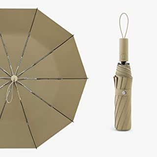 Automatic Umbrella Household Folding Umbrella Men's Personality Rain and Rain Umbrella Large Automatic Umbrella Four Colors Optional LJJOZ (Color : Brown)