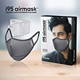 i95 airmask Premium Cotton Cloth Face Mask | Grey | Two 5 layer Replaceable Activated Carbon Filter | Reusable | Washable | Outdoor Masks | Pack of 1