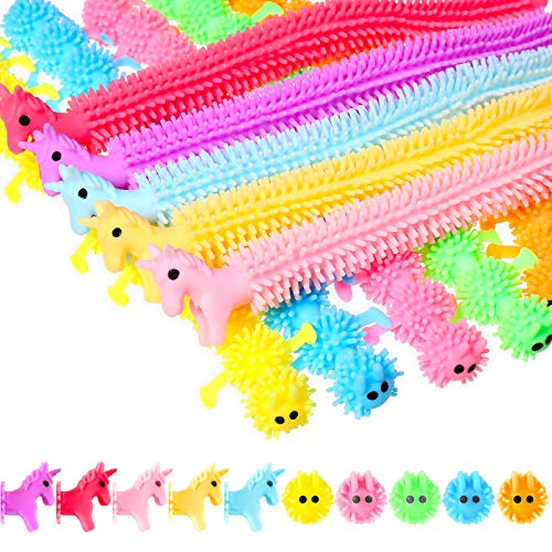 10 Pieces Stretchy String Fidget Sensory Toy Unicorn and Caterpillars Worm Toys Fuzzy Worm Noodles Stress Reliever Toy for Stress Relief, Calming and Relaxing Present Set for Teens Adults