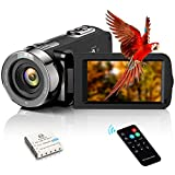 Video Camera Camcorder FHD 1080P 30FPS 24MP YouTube Vlogging Camera Recorder 3.0'' 270 Degree Rotation TFT LCD Screen 16X Digital Zoom Camcorder with Remote and 1 Battery