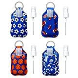 Neoprene Kids Hand Sanitizer Holder - 4pc Set Sports Hand Sanitizer Holder For Backpack with Empty Refillable 1oz BPA FREE Bottles with Flip Cap - Spray Tops Included