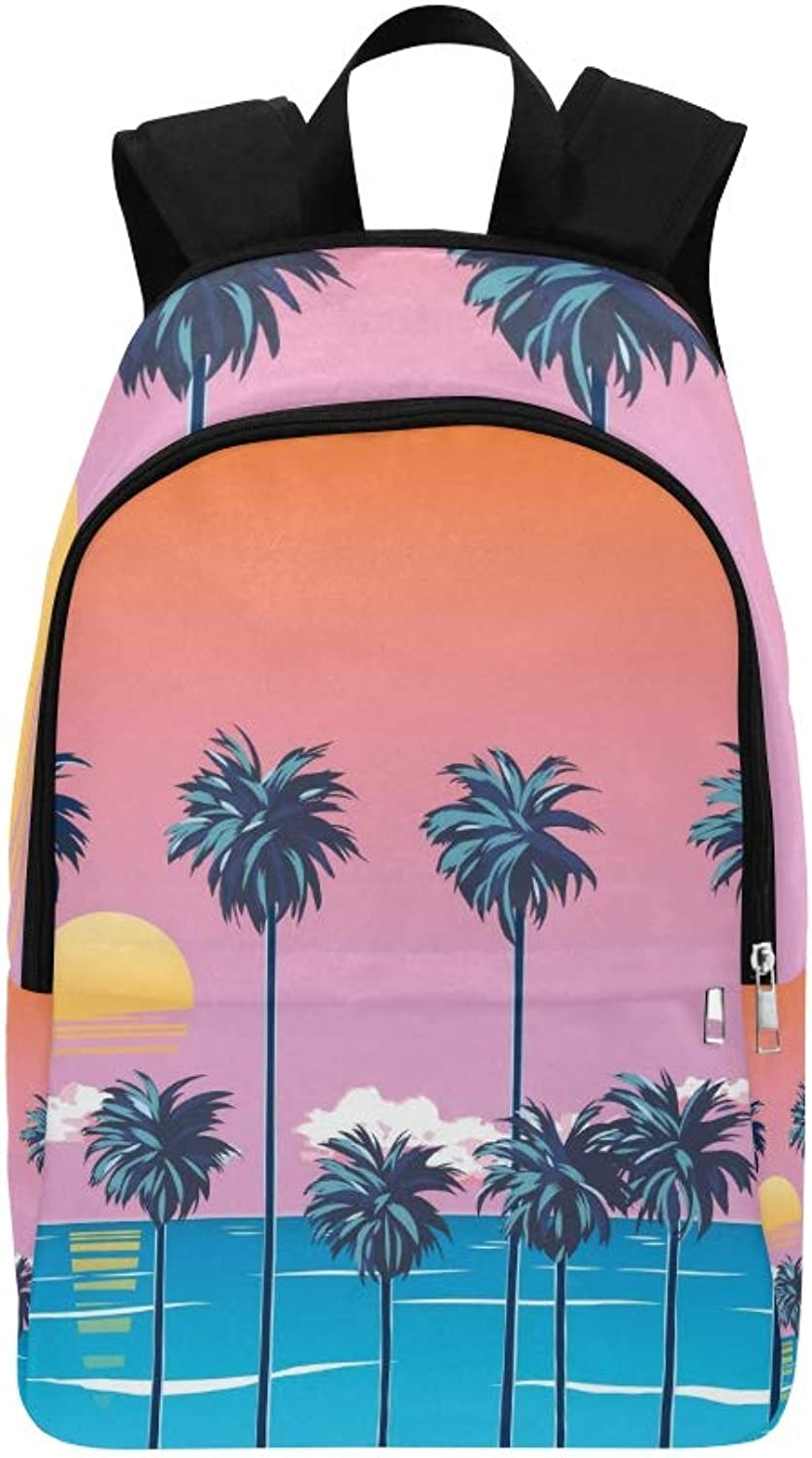Decline On Beach Palm Trees Casual Daypack Travel Bag College School Backpack for Mens and Women