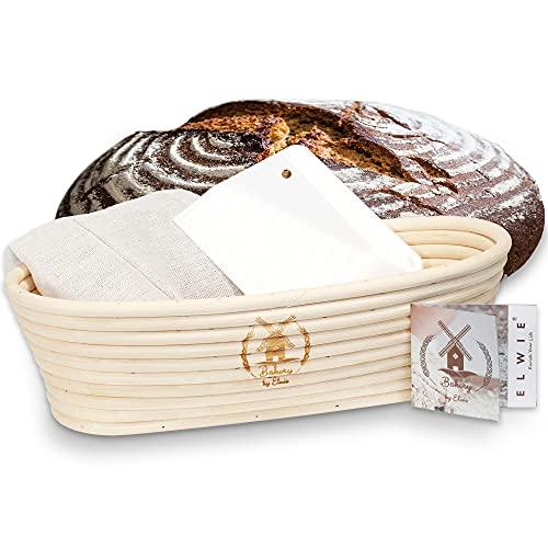 BÄCKERKUNST Gärkörbchen oval für 1,5kg Teig + Teigschaber + Rezept Brot backen + Leineneinlage in WEIß   ideal als Brotkorb   Gärkorb aus Peddigrohr   Brotform Obstkorb Rattan Schale
