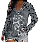Wave166 Disfraz de Halloween para mujer, con blusa de esqueleto con lentejuelas, estampado de leopardo y forma de corazón, mangas de patchwork, camiseta de manga larga, ropa deportiva, 2 gris, M