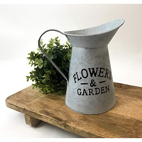 Lifetime Deko Wasserkanne 'Flowers & Garden' 23x16xH24cm Metall Grau - Blechkanne Gießkanne Dekokanne