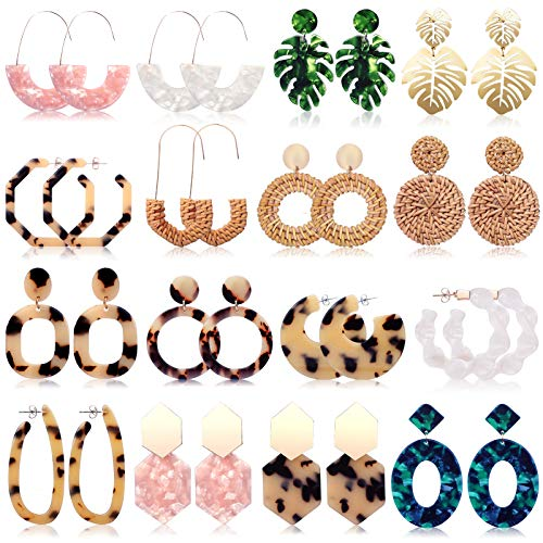 FIFATA 16 Pairs Christmas Statement Rattan Earrings for Womens Fun Acrylic Drop Earrings Resin Trendy Bohemian Fashion Jewelry Set Hypoallergenic for Sensitive Ears