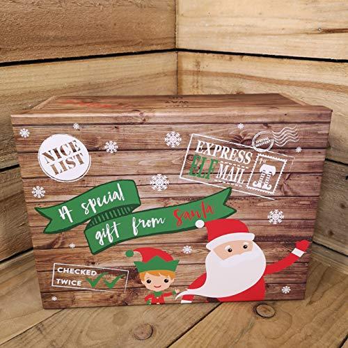 Festive Productions P021368 - Confezione regalo grande con Babbo Natale e elfo, 39,5 x 30 x 17 cm